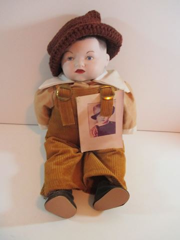 "Porcelain/ Cloth baby Elvis Doll 16"" /With Picture"
