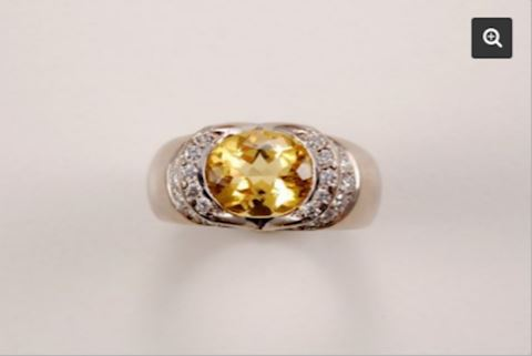 Diamond Semi-Bezel GOLD Ring Yellow Beryl