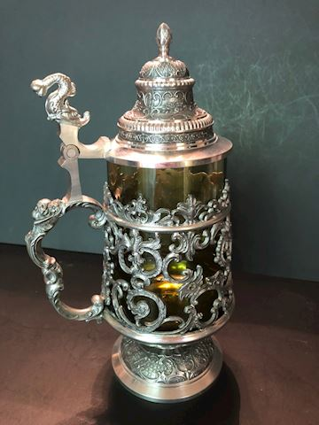ASN German Pewter and Glass Beer Stein