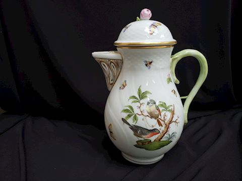 HEREND ROTHSCHILD BIRDS  1481 RO COFFEE POT W/LID