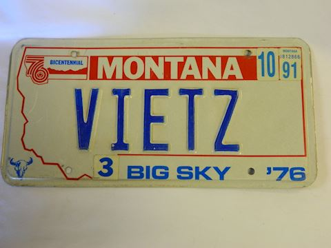 76/91 MT License Plate