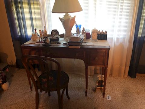 Desk and  lamps
