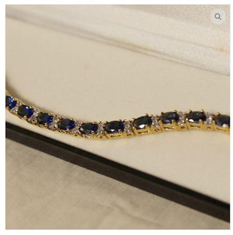 14K GOLD Sapphire Bracelet 8.65 ct w/ Accents