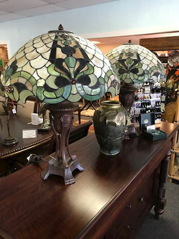 Two Green Stained Glass Lamps