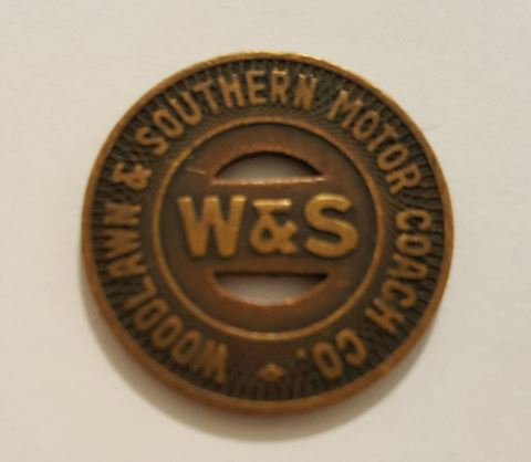 Old Woodlawn & Southern Motor Coach Co. Token
