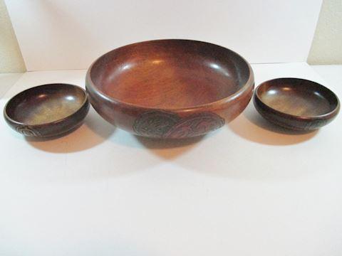 Vintage  Cherry Oak wood Bowls set of 3 Signed