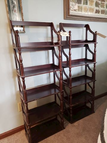 Pair of Cherry Display Shelves