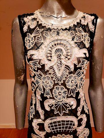Flapper Layering silk heavily beaded dress vtg