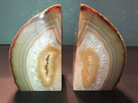 Tan Agate Geode Crystal Polished Quartz Bookends