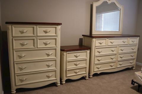Bedroom Suite Dresser,  High Chest &  Nightstand