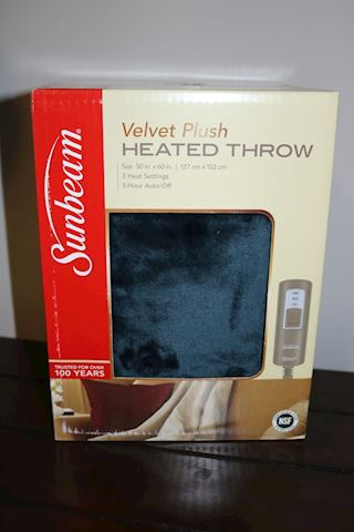 Sunbeam Heated Velvet Plush Throw