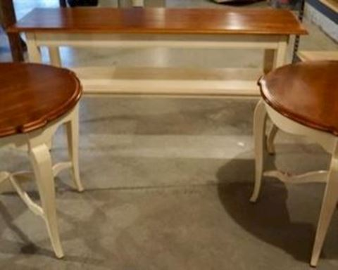 3 pc Country White Wood Top End & Sofa Tables