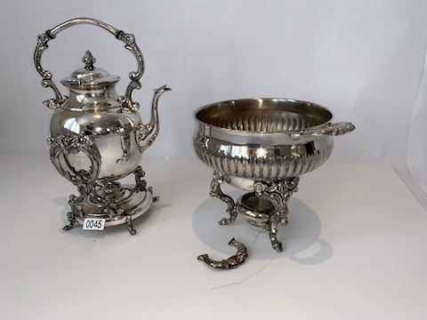 Lot 0045 Silver- Copper Tilting Coffee Pot w/Stand