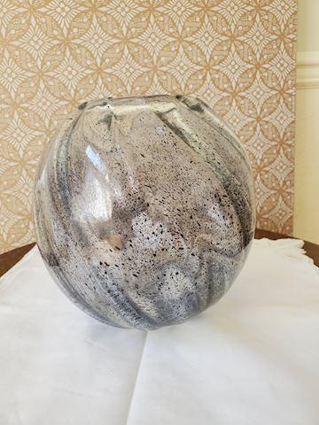 Clear round with a blue splatter design vase