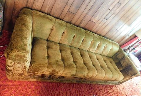 056 Vintage Green Fabric Sofa
