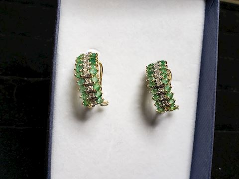 Natural Emeralds and genuine Diamonds, in 14k Gold