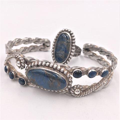 Vtg Native Amer Sterling Silver Lapis?Cuff & Ring