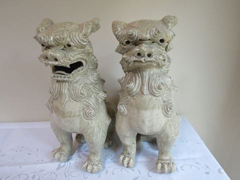"(2) Large Pottery Foo Dog Statues - 15.5"" Tall"