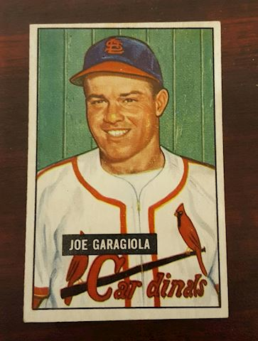 1951 Rookie Joe Garagiola Cardinals Baseball Card