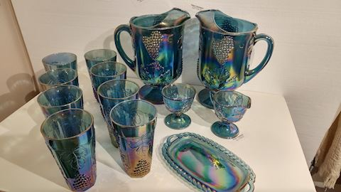 Antique Cut Carnival Glass Blue Set Deal VERY RARE