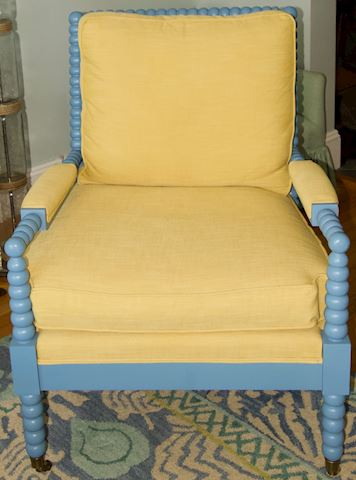 Blue Painted Wood Frame Armchair #1