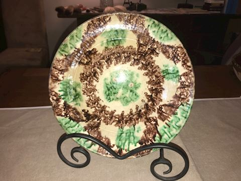 Very old painted pottery dish