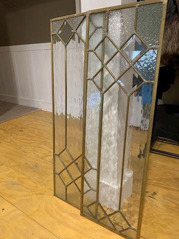 Brass Framed Glass Window Panels