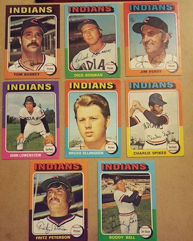 8 Vintage 1975 Cleveland Indians Baseball Cards