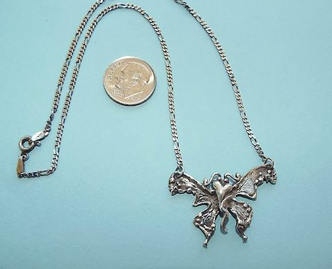 Sterling Silver Butterfly w Heart Necklace