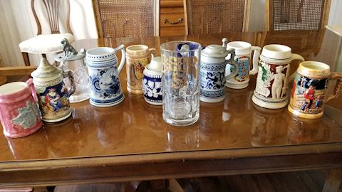 Collectible beer stein and mug set