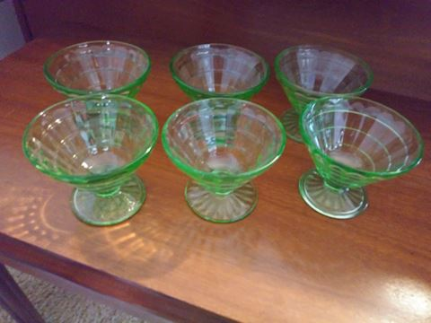 Set of six green depression ice cream bowls