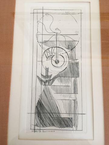 Mid Century Etching Coffee Grinder Marcel Duchamp