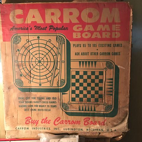 Vintage Carrom game board and pieces