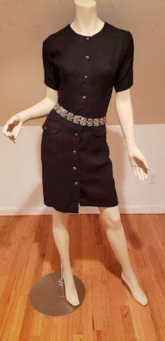 Guy Laroche Boutique Linen dress brass buttons
