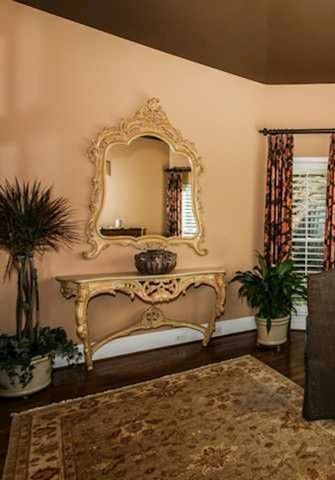 Designer Italian Marble Foyer Table w/ Mirror