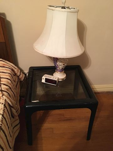 Black Nightstand and Lamp