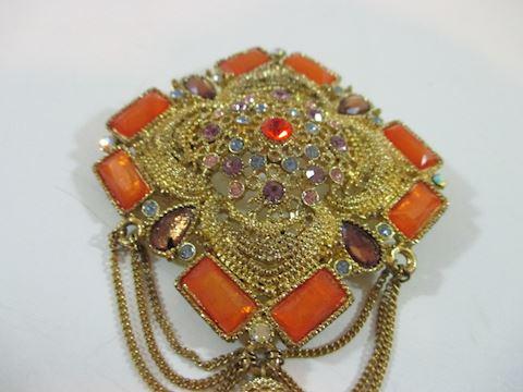 Antique Royal Orange Rhinestone Tassel Brooche
