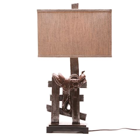 Tall Western saddle table lamp with linen shade