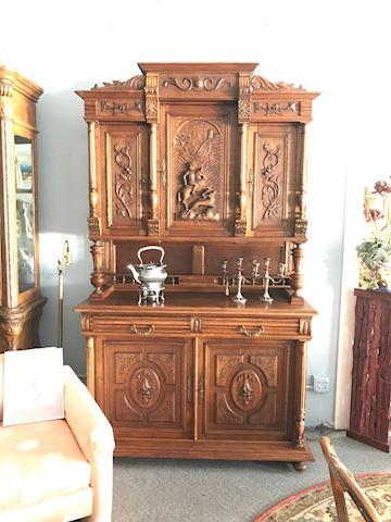 1870s Carved German Renissance Hunting Cabinet