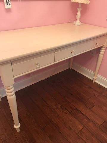 Cream writing desk with 2 drawers