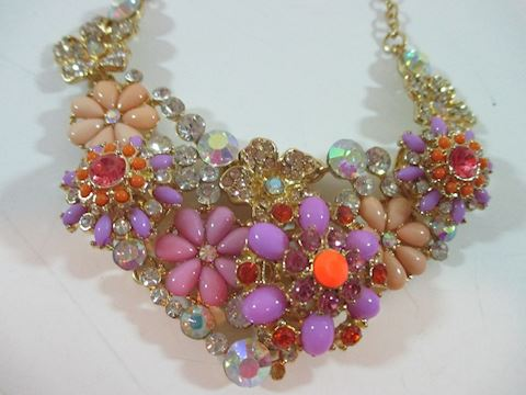 A 70's Haute Couture Multicolor Flower Choker
