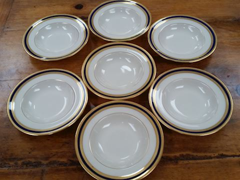 SET  OF 7 LENOX CHINA FRUIT/DESSERT BOWL COBALT BL