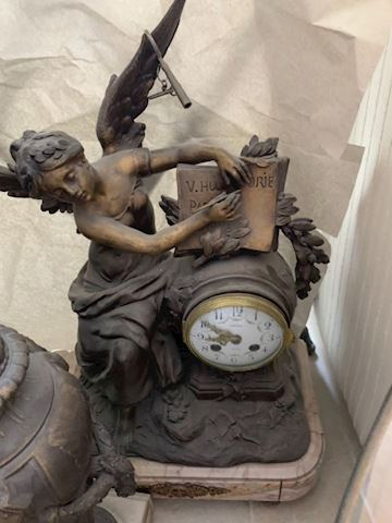 Antique French brass & marble Mantel clock