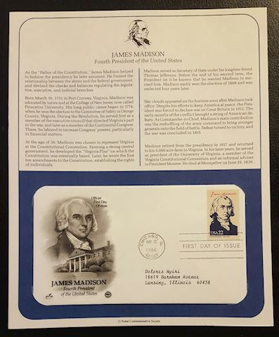 James Madison 1986 First Day of Issue Cover