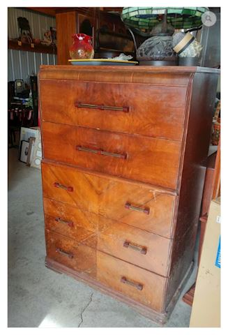 Chest of Drawers 1940s w/ In-Lay