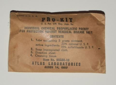 WWII Army Issue Prophylactic/Condom - Sealed