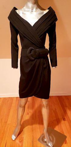 Cache' wrap crepe off shoulder dress pleats & belt