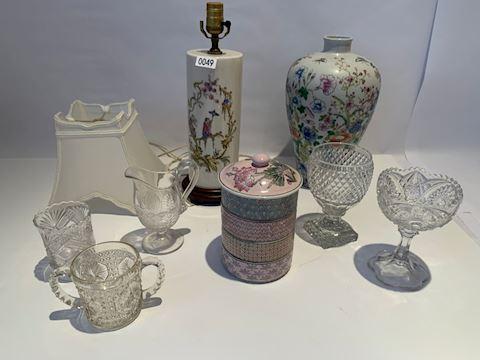 Lot 0049 Porcelain,crystal, powered box