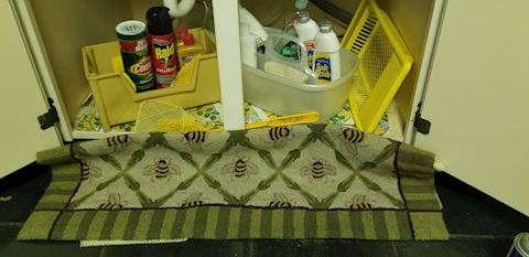 Assorted cleaning supplies and 2 rugs