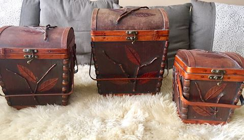 3 Antique Asian Hand Made Wooden Stackable Boxes